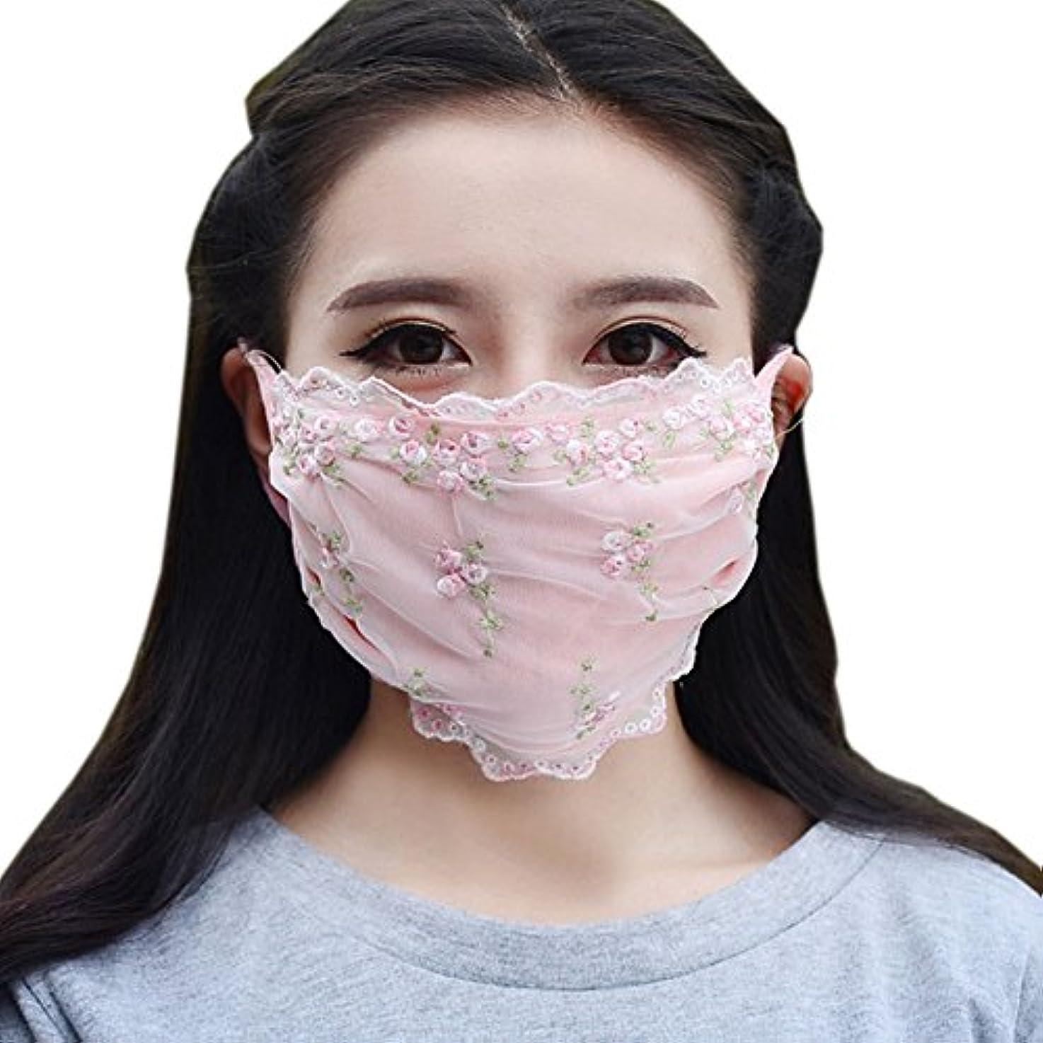 慎重に例外主婦夏の薄いコットンマスク、レースの花