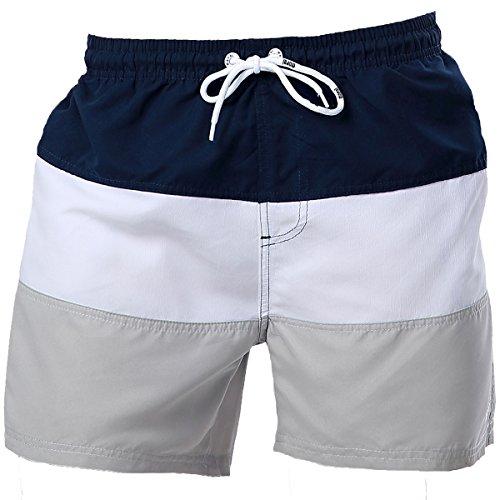 ビーチパンツ メンズ 砂浜パンツ ショートパンツ 通気 速乾 水陸両用 パーティー おしゃれ カジュアル(L,青白灰)