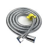 【MOLO】蛇腹シャワーホース ステンレス鋼 レンチ添える 伸びた長さ:1.8M 抗菌防カビ 高水圧にも対応