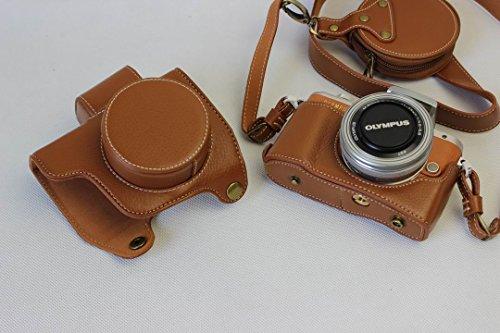 Olympus E-PL7 E-PL8 EPL7 EPL8 PEN ケース(14-42mmのレンズに適用)本革カメラーケース、Koowl手作り表面牛革カメラケース、Olympus E-PL7 E-PL8 EPL7 EPL8一眼カメラケース、防水、防振、携帯型、透かし彫りベース+肩紐+ミニ収納ケース (ブラウン)