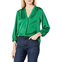 Vince Camuto Women's 3/4 Sleeve V-Neck Fiesta Polka Dot Blouse