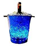 【 オシャレにボトルを冷やせる! シャンパンクーラー! 】 シャンパン クーラー LED ライト ワイン クーラー オシャレ ブルー 電池式 MI-NLT-H003