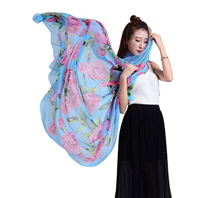 COMVIP 薄手 ビーチ スカーフ ファッション 柔らかい マフラー プリント バラ柄 リゾート ビキニストール 快適 大判 海辺 通勤