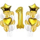 1歳誕生日 飾り付け風船-25個数字バルーンセット 装飾 バースデー デコレーション セット (ゴールド)