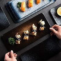 YZUEYT 大料理日本料理寿司の皿セラミック皿の西洋料理創作家庭矩形板カトラリーの魚 YZUEYT (Color : Yao black, Size : 7.5 inches)