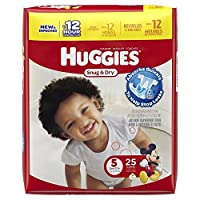 Huggies Baby Diapers, Snug & Dry, Size 5 (Over 27 lbs), Case of 4/25s (100 ct) by Huggies
