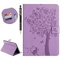 iPadのミニ1/2 / 3-ライトパープル用のiPadミニ3ケース、SainCat超薄型レザーケース財布衝撃吸収フリップ猫と木のカバー