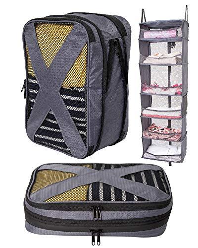 トラベルポーチ 圧縮機能付き 3点セット 吊り下げ スーツケース用クローゼット 収納便利 旅行グッズ 軽量 防水 大容量