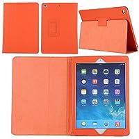 【E-COAST】新型 iPad 9.7 2017/ iPad 9.7 2018専用カバー 保護ケース 軽量 折畳式 スタンド可能 オートスリープ機能 9色選択可能 液晶保護フィルム付 (オレンジ)