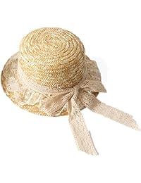 Yaojiaju 夏ストロー帽子、レースフラットトップ麦わら帽子サンプロテクションビーチエレガントなレジャー帽子女性用
