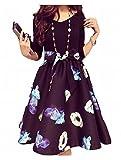 (トレジャーディ)Vネック ゆったり かわいい 大きいサイズ リボン 花柄 フレアー ワンピース ドレス 3l レディース (3XL)