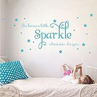 """""""She Leaves a Little Sparkle"""" ガールズルーム用ステッカー ビニールウォールデカールステッカー 印象的な言葉と星 L ブルー 2029-WALL-02-19"""