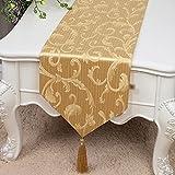 テーブルランナー刺繍テーブルクロスベッドランナーキャビネットランナーベッドテールタオルモダンシンプルティーテーブルクロス (色 : ゴールド, サイズ さいず : 33*300cm)