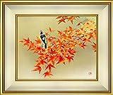 後藤順一『秋彩(F10号)』日本画 風景画 花鳥画 植物 鳥類 動物 紅葉 楓 かえで もみじ ジョウビタキ ヤマガラ 山雀 肉筆 直筆【真筆 絵画】【B4509】