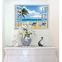 ZooArts ウォールステッカー ウォールシール ウォールペーパー 窓 ビーチ 陽光を浴びる ココナッツ 海の景色 白雲 青い空 爽やか おしゃれ デッキチェア 剥がせる 壁が窓に早変わり 生活防水 環境保護