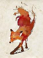 Vulpes Vulpes Robert Farkas Illustration Fantasy Animal Fox Poster (Choose Size Print or Canvas) 【Creative Arts】 [並行輸入品]