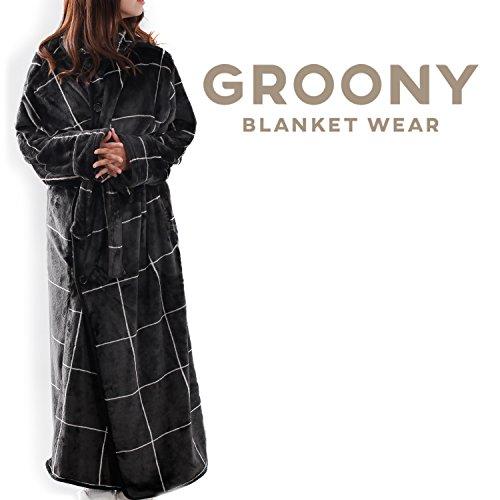 Groony グルーニー 着る毛布 2017ver シルキータッチ 静電気防止処理 ポケット付き 男女兼用 おしゃれ ミドル グラフブラック