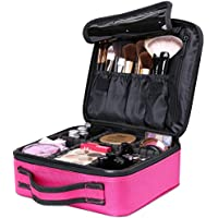(Rose Red) - Luxspire Makeup Cosmetic Storage Case, Professional Make up Train Case Cosmetic Box Portable Travel Artist Storage Bag Brushes Bag Toiletry Organiser Tool with Adjustable Dividers, Rose Red