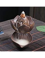 PHILOGOD 逆流香炉 陶器ロータススタイリング香炉 工芸品お香 ホルダー 香立て逆流香 香皿 (large lotus)