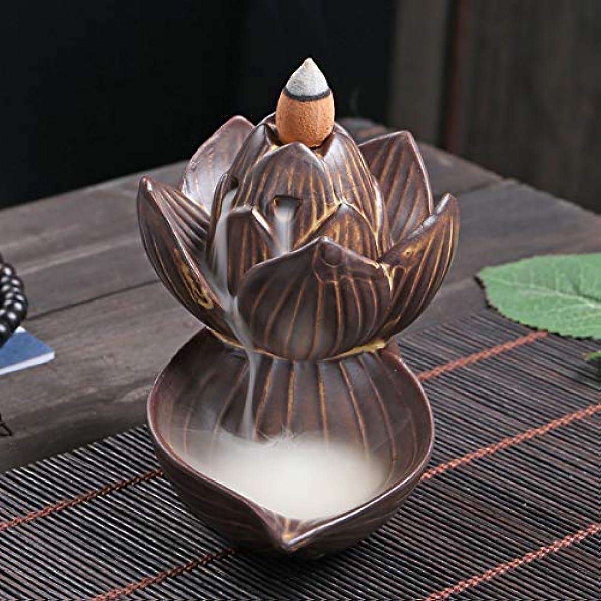 アコーファンシー余分なPHILOGOD 逆流香炉 陶器ロータススタイリング香炉 工芸品お香 ホルダー 香立て逆流香 香皿 (large lotus)
