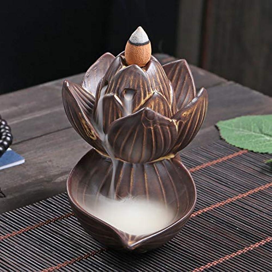 シンポジウムコントローラ電気的PHILOGOD 逆流香炉 陶器ロータススタイリング香炉 工芸品お香 ホルダー 香立て逆流香 香皿 (large lotus)