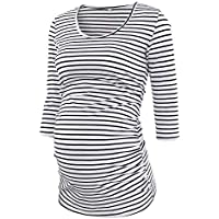 Pinkydot Women's Side Ruched 3/4 Sleeve Maternity Scoopneck T Shirt Top Pregnancy Clothes