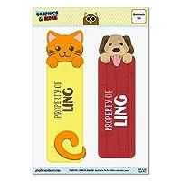 玲オレンジ猫と2光沢ラミネートブックマークの犬セット