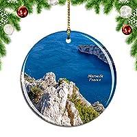 Weekinoフランスカランクマルセイユクリスマスデコレーションオーナメントクリスマスツリーペンダントデコレーションシティトラベルお土産コレクション磁器2.85インチ