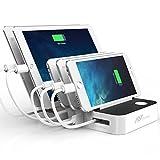 Flepow USB充電スタンド 5ポート 充電ステーション Type-C対応可能 自動巻取式 iPhone/iPod/iPad/Androidスマホ・タブレット対応可能 スマホスタンド 急速充電器 ホワイト(Type-Cケーブル付き)