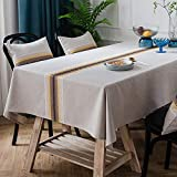 Amzali Classic Embroidery Spill-Proof Water Resistance Table Cloth Wrinkle Free Heavy Weight Cotton Linen Tablecloth Fabric Table Cover for Outdoor and Indoor (Rectangle/Oblong,53 x 70 Inch)