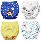 Baby Boy's Training Pants Toddler Potty Cotton Pants Cloth Diaper 4 Packs Cute Nappy Underwear for Kids Washable 3 Layers Potty pants.