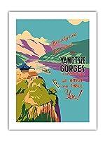 Yangtsze川の峡谷 - 中国の中心部に - 美しさと壮大さ、それは驚かせるし、あなたをスリルます! - ビンテージな世界旅行のポスター c.1934 -プレミアム290gsmジークレーアートプリント - 46cm x 61cm