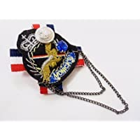 エンブレム刺繍ミリタリーワッペン風ピンバッジ WP-07 チェーン付き