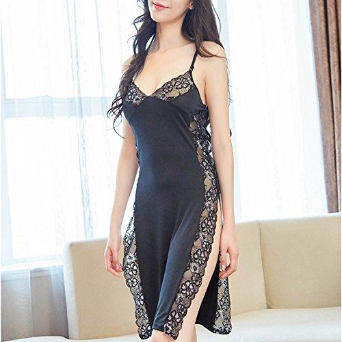 lusky セクシーランジェリー ベビードール 魅惑的なサイドスリット 優雅なシルバーの花柄レースが胸元やSラインを綺麗に演出 首飾り付き フリーサイズ (ブラック)