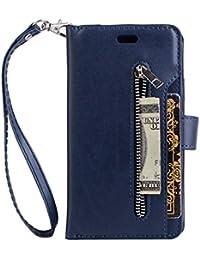 iPhone Xr 保護ケース 多機能、SIMPLE DO レザーケース 収納型 財布型 マグネット式吸着 スタンド機能 ジッパー付き 盗難防止 防水 耐汚れ ビジネス用(ブルー)