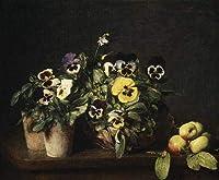 手描き-キャンバスの油絵 - 静物 with Pansies 1874 Henri Fantin Latour flower 芸術 作品 洋画 FRCL2 -サイズ09