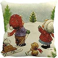 クリスマスピローケースかわいい雪だるらプリンティング染色ソファベッドホームインテリアピローケースXmas 45x45cmスクエアフラックスクッションカバー,45x45cm,絵