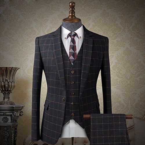 メンズ スーツ 英国スタイル 3ピース チェック柄 メンズ 王子 スーツ