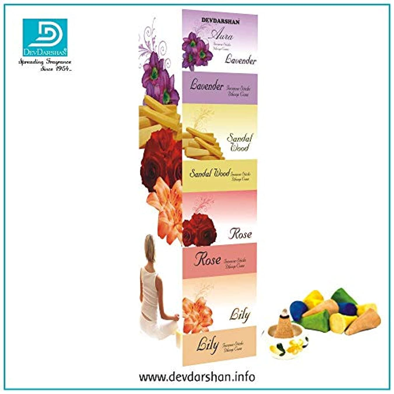 謝罪する住む反逆Devdarshan Aura Dry Dhoop Cones (Lavender, Sandalwood, Rose, Lily) 3 Units of 40g Each Fragrance, Pack of 12 Units