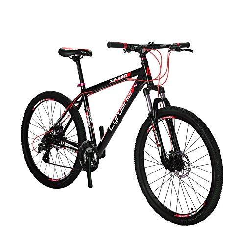 Extrbici XF300 マウンテンバイクMTB 24段変速 27.5インチ アルミニウム ディスクブレーキ (赤)