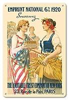 22cm x 30cmヴィンテージハワイアンティンサイン - ナショナル・ローン1920 - 購読します - ニューヨーク、パリの公平信託会社 - ビンテージな広告ポスター によって作成された ギラウーム・セイニャック c.1920