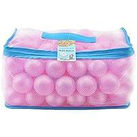 Lightaling ピンクオーシャンボール100個 & ピットボール ソフトプラスチック フタル酸エステル&BPAフリー 耐クラッシュ性 再利用可能 丈夫な収納メッシュバッグ ジッパー付き