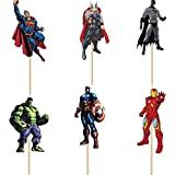 Bling Story Pack of 24 The Avengers and Superheros Cupcake Topper Picks Boy Children Party Decoration Kid's Birthday Party De