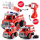 Take Apart Toys with Electric Drill   Converts to Fire Truck Remote Control Car   3 in one Take Apart Toy for Boys   Gift Toys for Boys 3,4,5,6,7 Year Olds   Kids Stem Building Toy