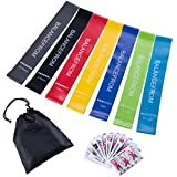 BalanceFrom Resistance Loop Exercise Bands Exercise Cards Carrying Bag, Set of 7