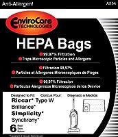 ペーパーバッグ、Brilliance SynchronyタイプW HEPA 6pk by Riccar