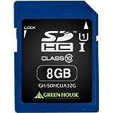 グリーンハウス SDHCメモリーカード UHS-I クラス10 8GB GH-SDHCUA8G