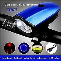 LED自転車ライトUSB充電スピーカー強力なハイライトロングショットナイトライディングサイクリングアクセサリーマウンテンサポートアンダーヘッドライト ( Color : 青 , 版 : D )