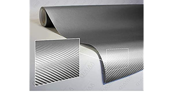 1.5ft x 5ft VViViD XPO Sterling Silver 3D Carbon Fiber Vinyl Wrap Roll with Air Release Technology 4350414177