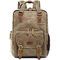 ASdf Canvas Leather Backpack Shockproof SLR Camera Bag Professional Camera Bag Waterproof Camera Backpack Travel Hiking Outdoor Men and Women Backpack (Color : B)